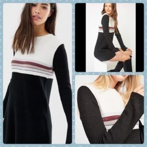 NWT Free People Colorblock Sweater Mini Dress Blk
